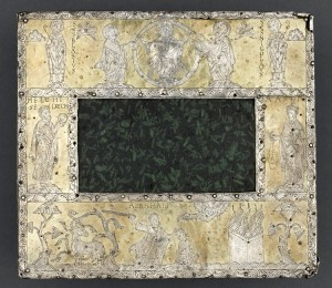 Green porphyry with silver iconographic border